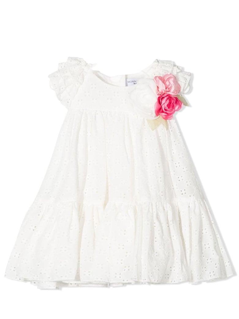 Monnalisa White Cotton Dress - Panna