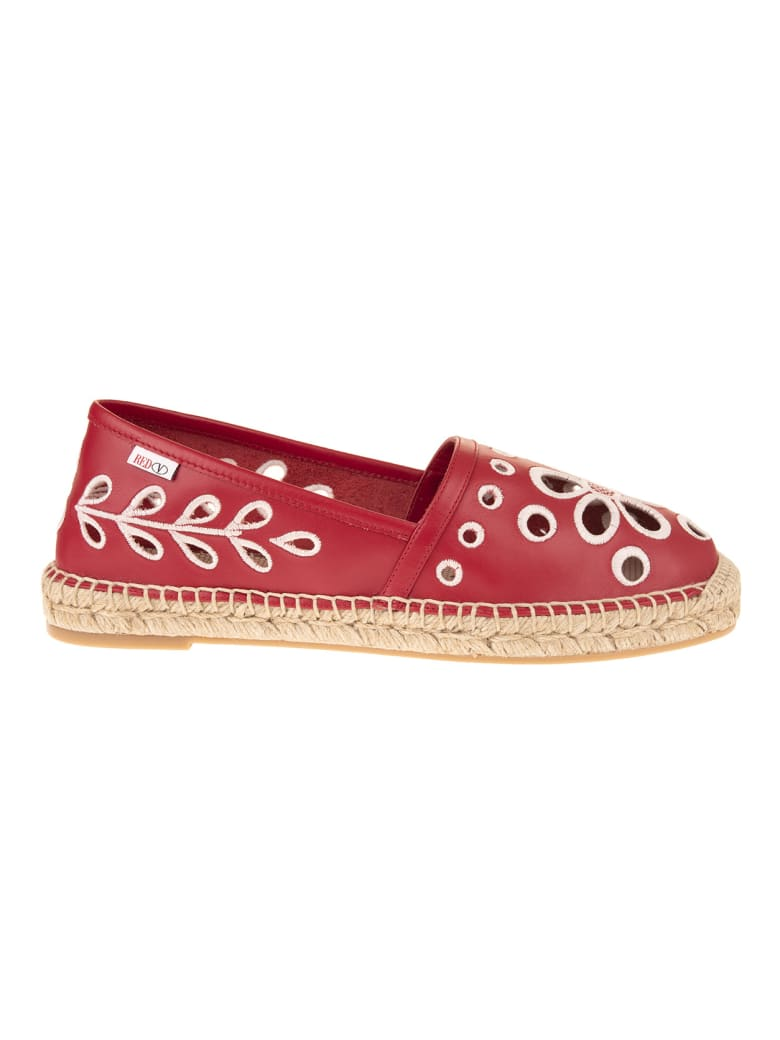 RED Valentino Red Leather Espadrilles With Cut-out Detail - Cherry/latte