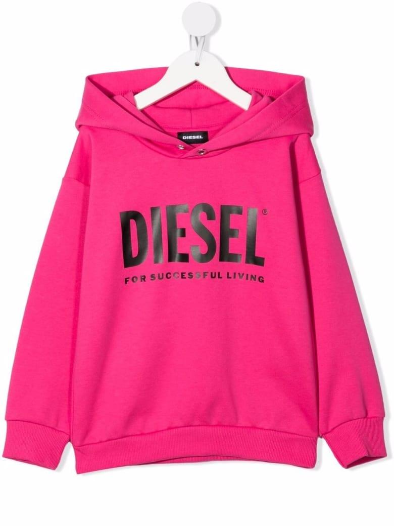 Diesel Kids Fluo Pink Hoodie With Black Oversize Logo