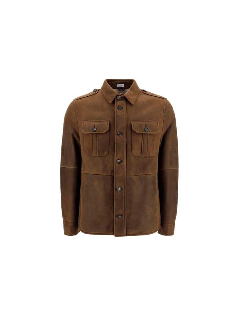 Brunello Cucinelli Shirt - Dark brown/sabbia