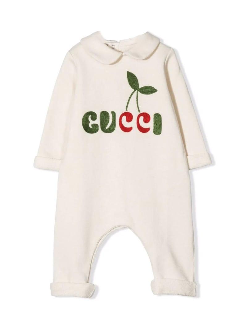 Gucci White Cotton Romper - Panna