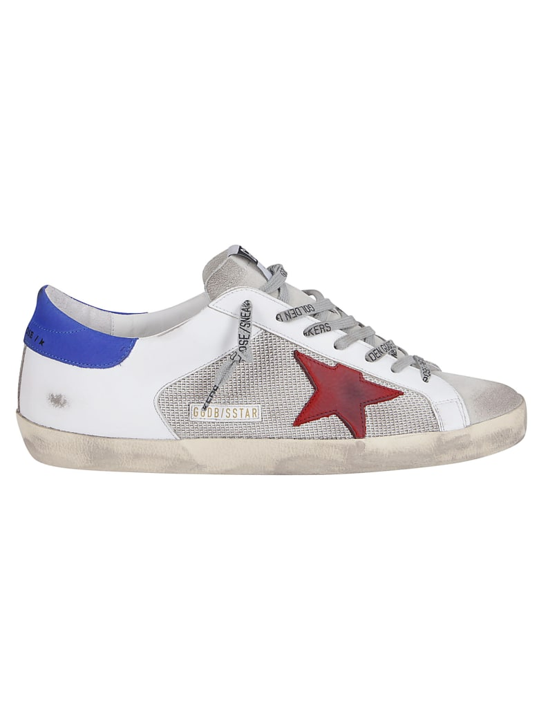 Golden Goose White Leather And Canvas Super-star Sneakers - Silver/white Red
