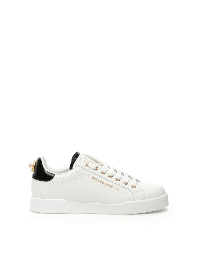 Dolce & Gabbana Portofino Sneakers With Pearl - Bianco