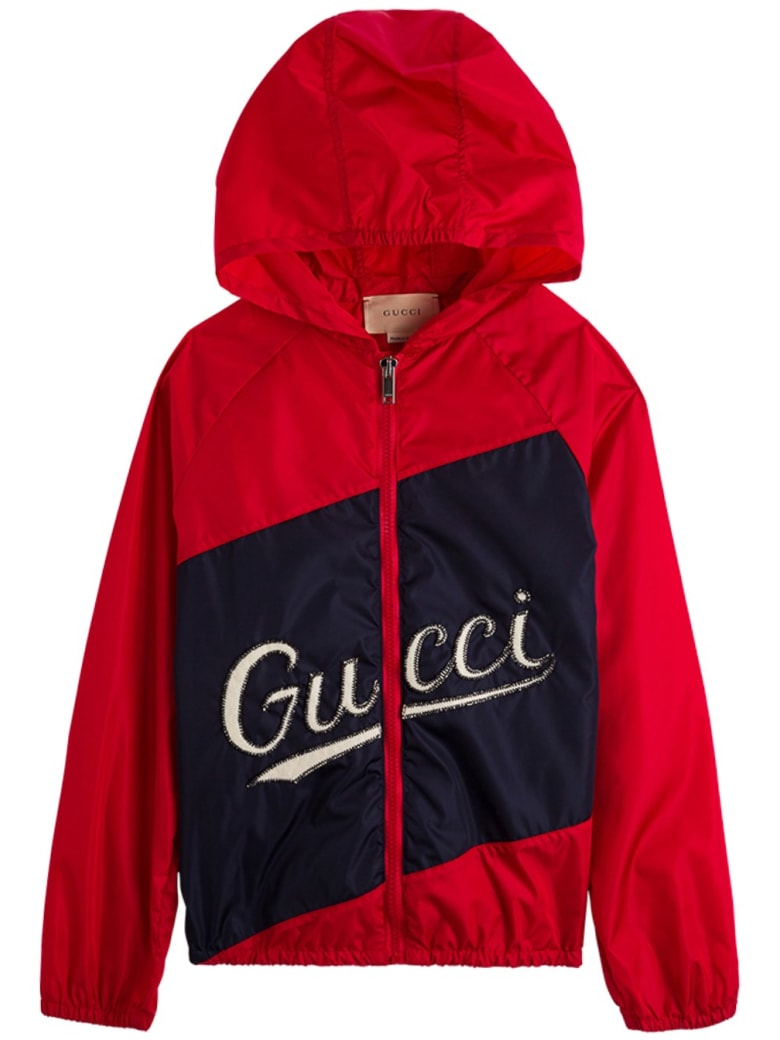 Gucci Red And Blue Nylon Jacket With Logo