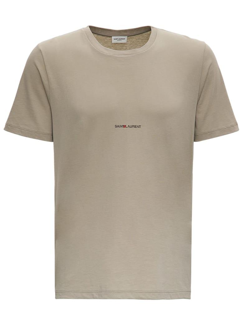 Saint Laurent Beige Jersey T-shirt With Logo Print - Sabbia/Nero
