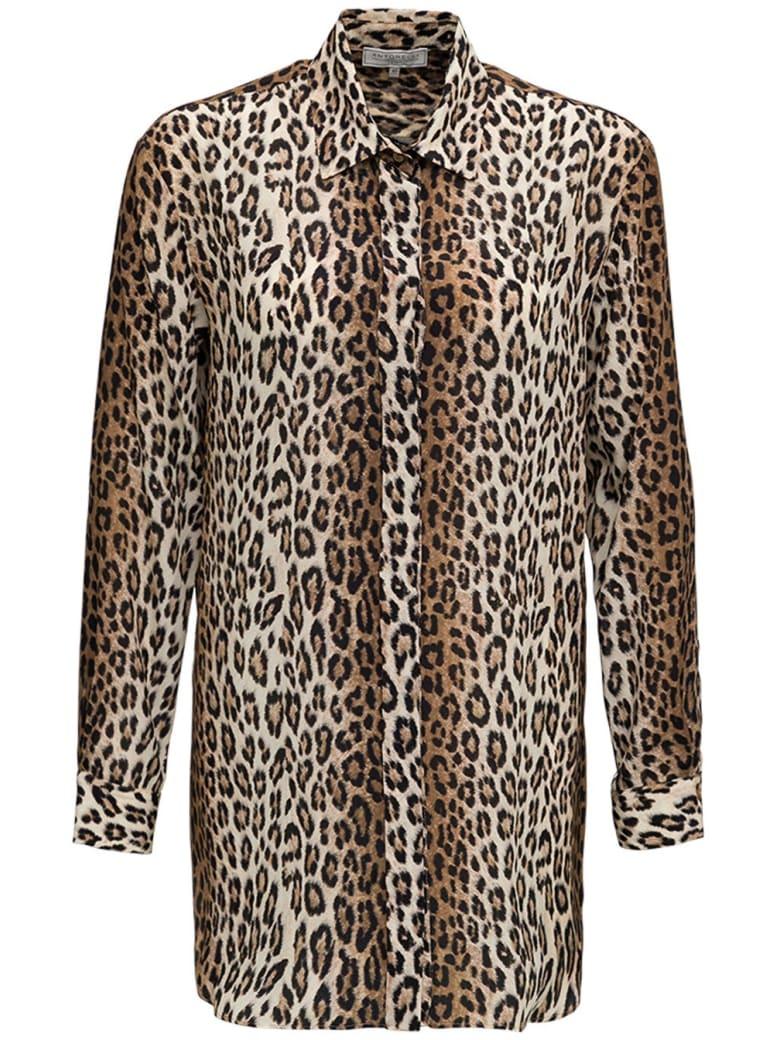 Antonelli Animalier Printed Long Silk Shirt - Brown