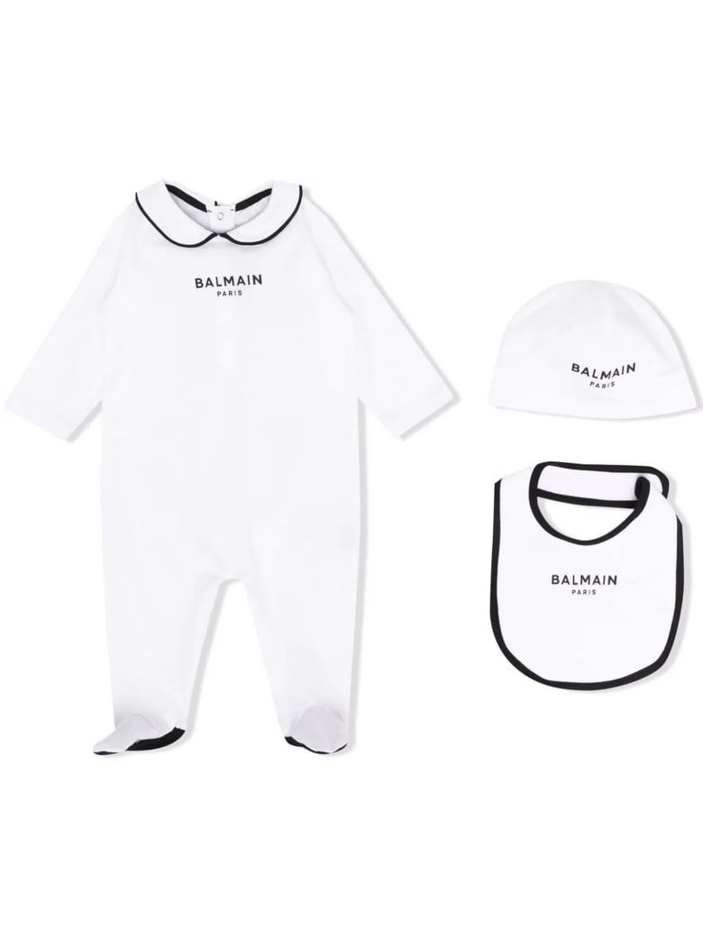 Balmain White Cotton Babygrow Set - Bianco