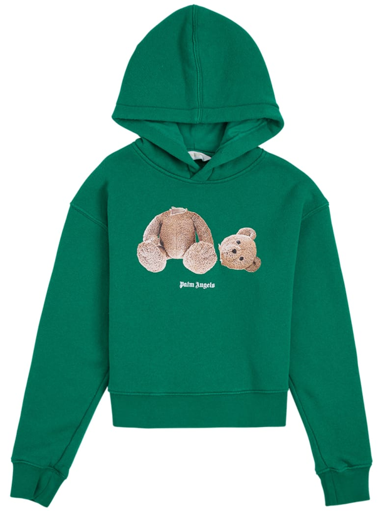 Palm Angels Green Cotton Hoodie With Teddy Bear Print - Green