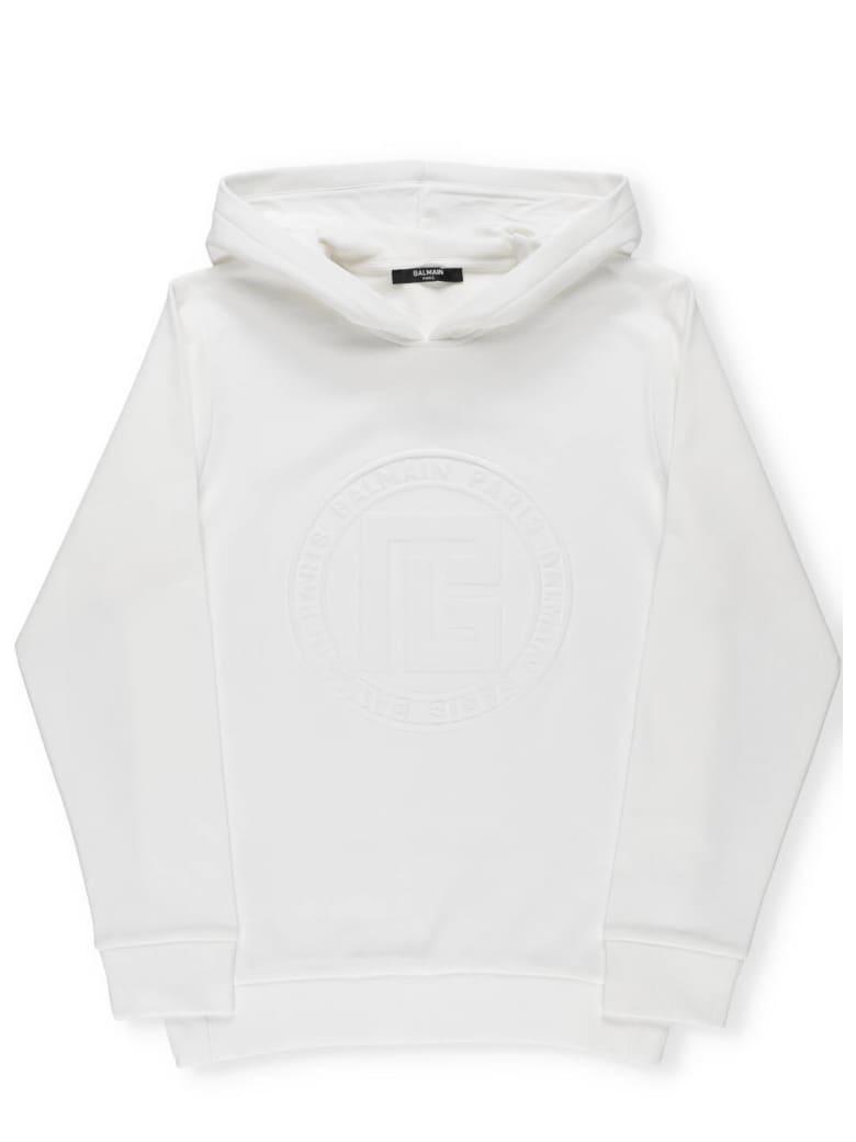 Balmain Logo Hoodie - White