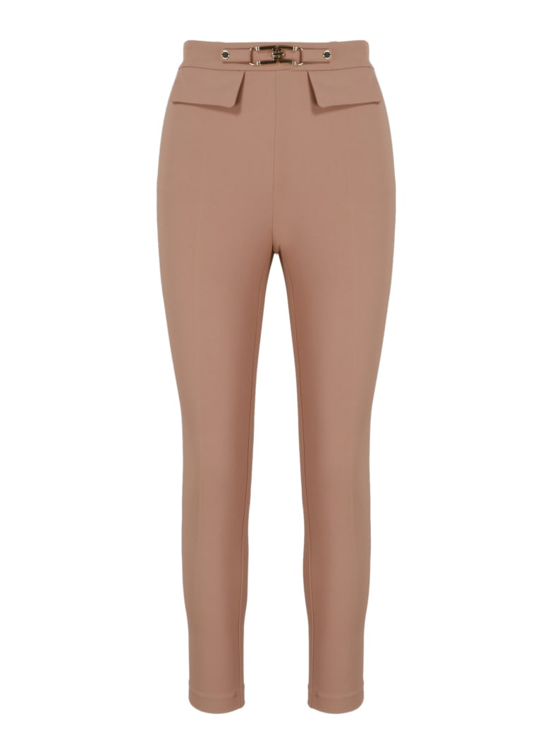 Elisabetta Franchi Logo Clamp Slim Trousers - Nude & Neutrals