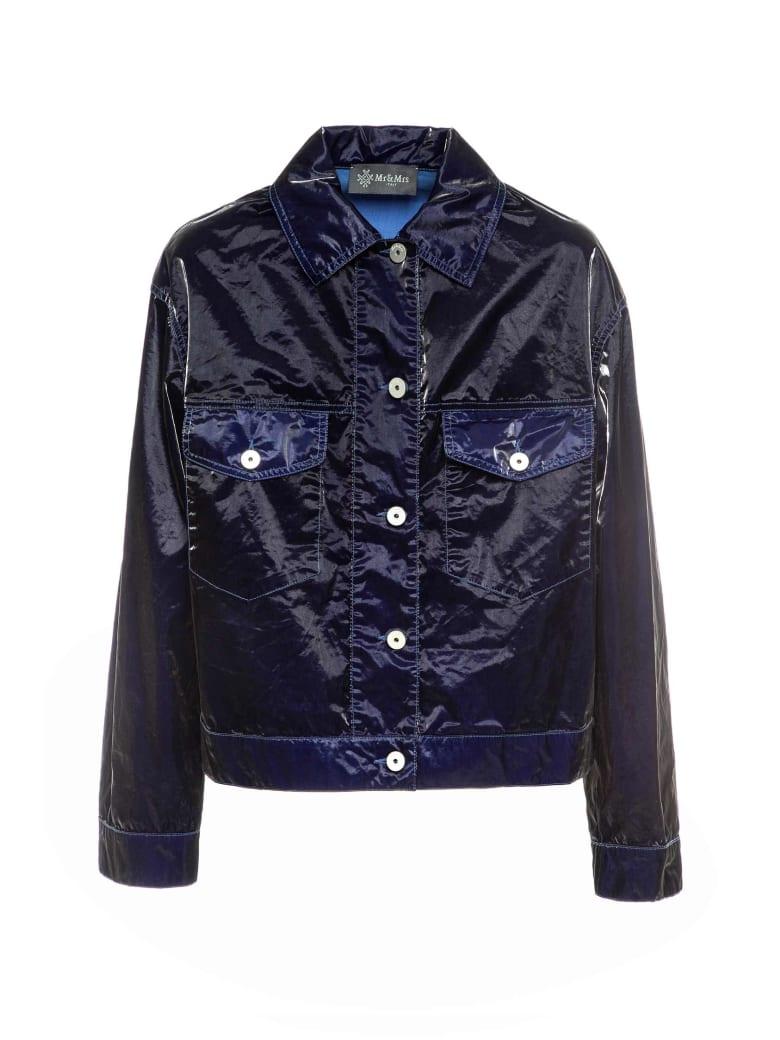 Mr & Mrs Italy Cotton Velvet Tech Short Jacket For Woman - INDACO