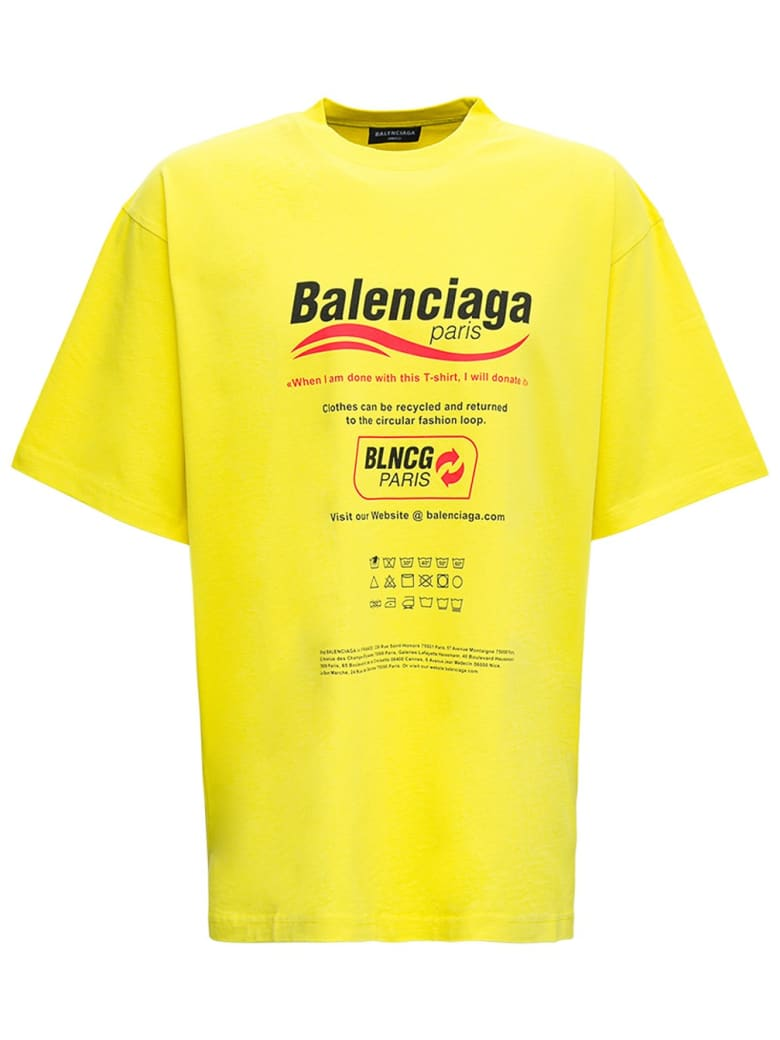 Balenciaga Yellow Cotton T-shirt With Boxy Print - Yellow