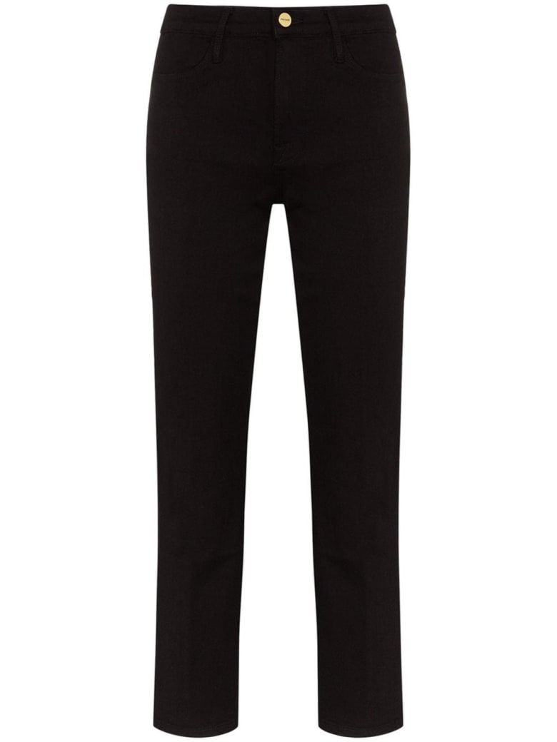 Frame High Straight Denim Jeans - Black
