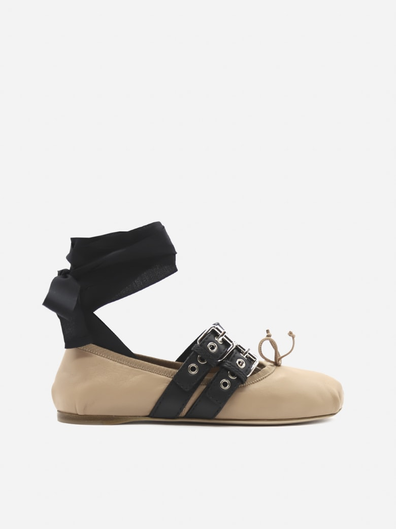Miu Miu Leather Ballerina With Laces And Buckles - Nude