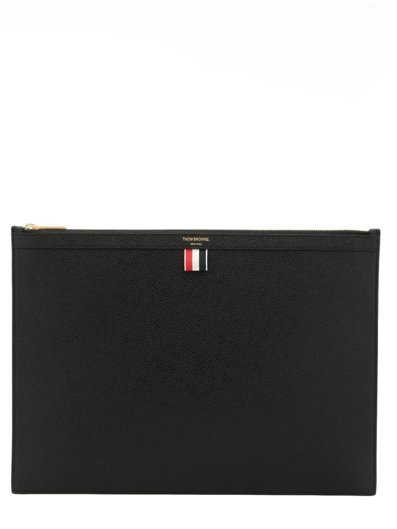 Thom Browne Pebbled Leather Document Holder - BLACK
