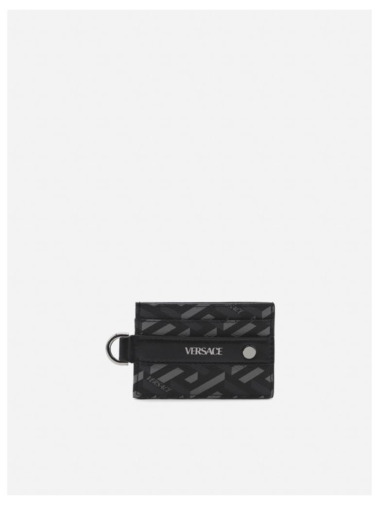 Versace Canvas Card Holder With All-over La Greca Motif - Black