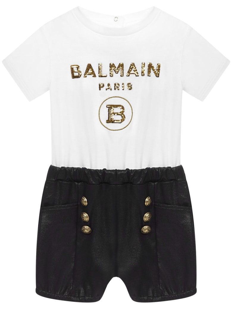 Balmain Paris Kids Romper - White