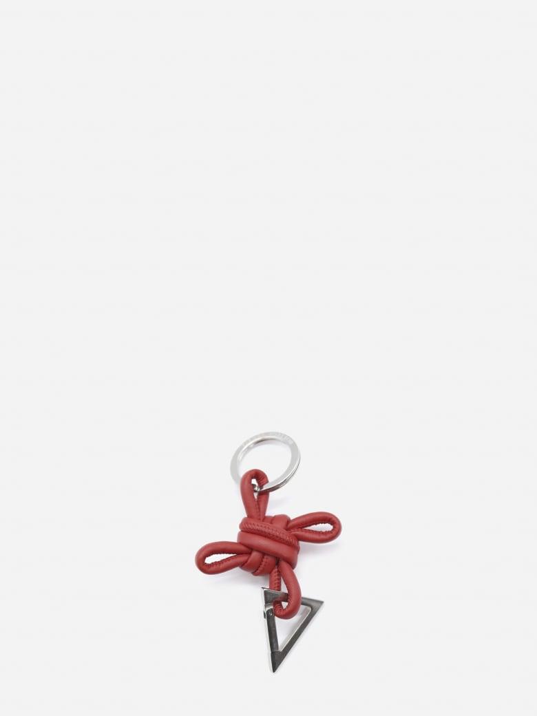 Bottega Veneta Leather And Metal Key Ring - Chili