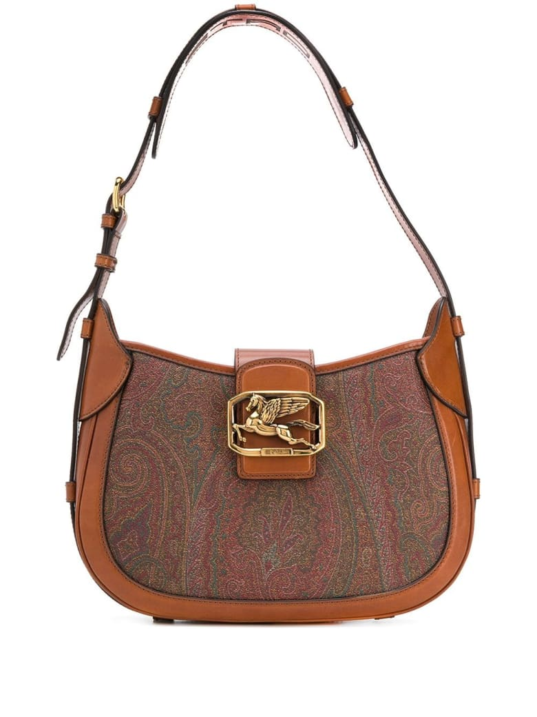 Etro Pegaso Shoulder Bag In Paisley Printed Leather - Brown