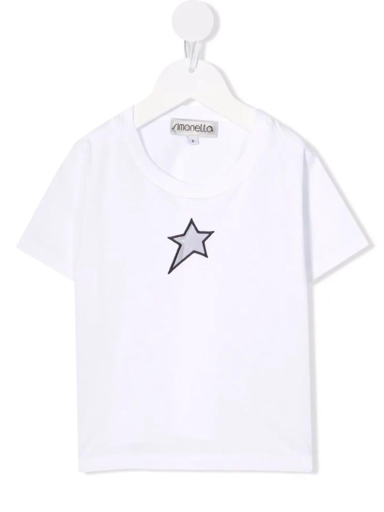 Simonetta Kids White T-shirt With Perforated Star - Bianco