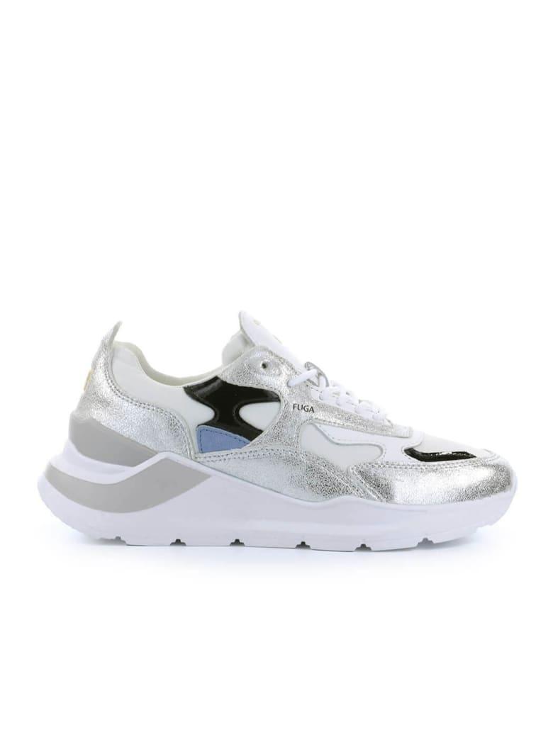 D.A.T.E. Fuga Reflex White Silver Sneaker - Silver/White