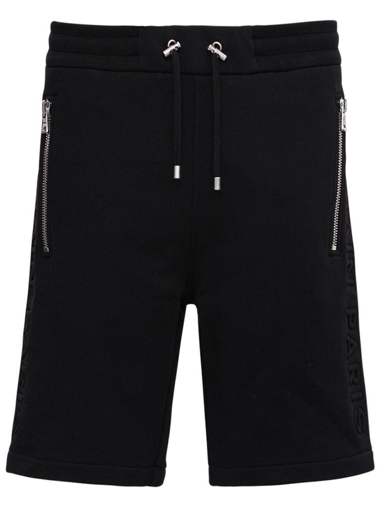 Balmain Jersey Bermuda Shorts With Logo - Black
