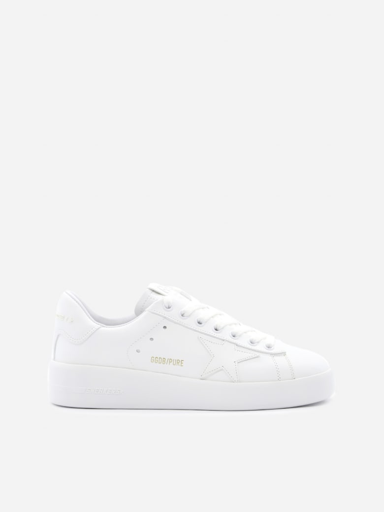 Golden Goose Pure Star Sneakers In Leather With Laminated Effect Logo - White