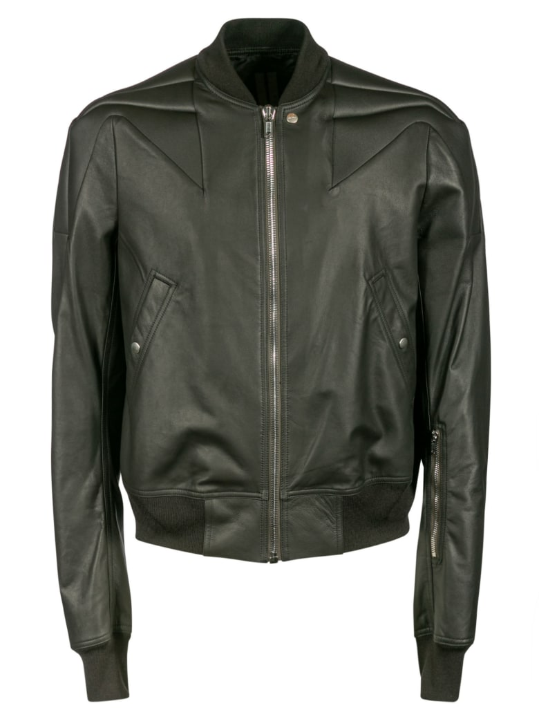 Rick Owens Leather Bomber - Black
