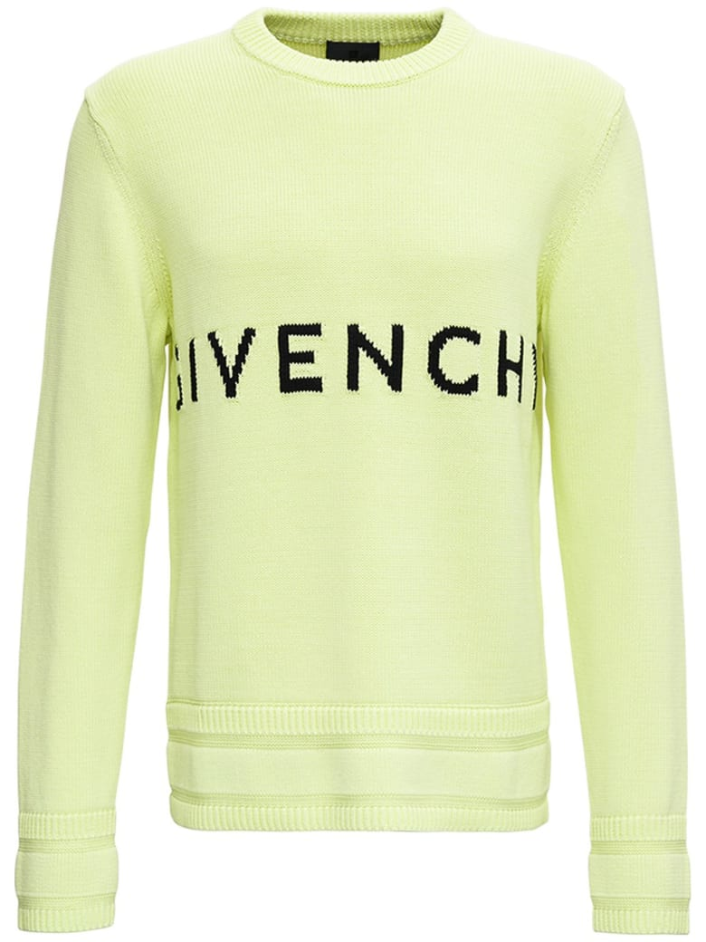 Givenchy Lime Green Cotton Sweater With Logo - Yellow