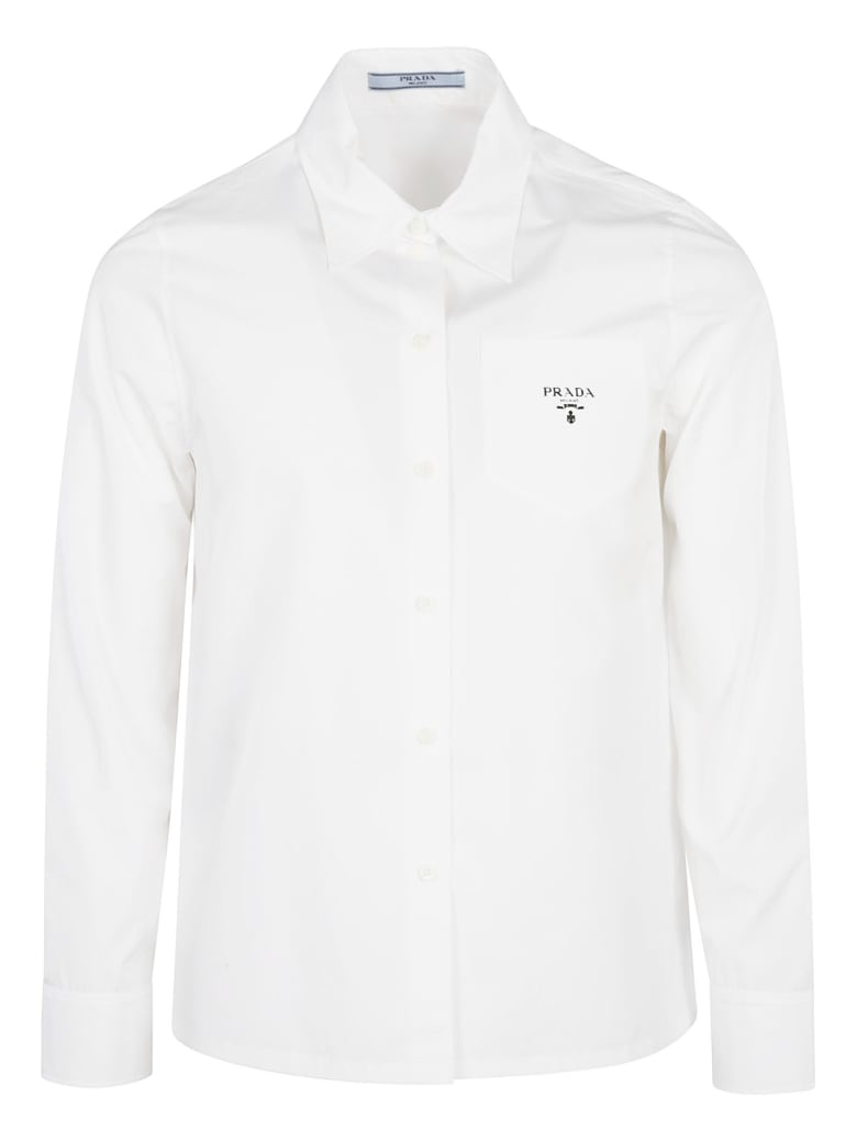 Prada Patched Pocket Logo Shirt - White