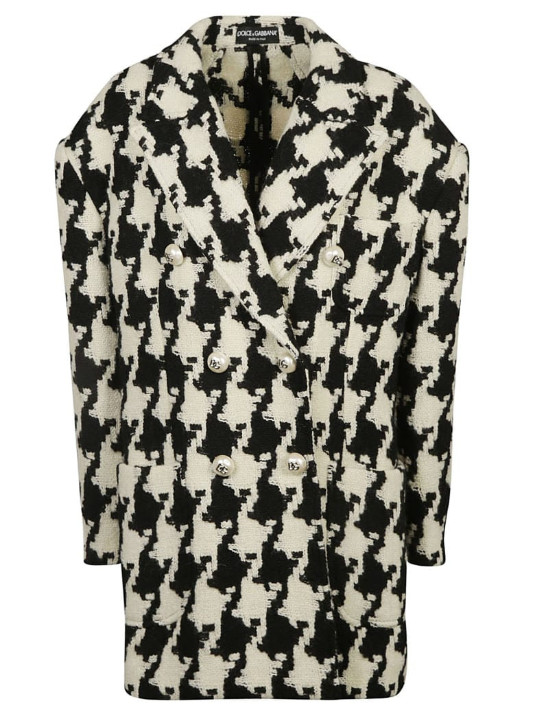 Dolce & Gabbana Double-breasted Knitted Blazer - White/Black