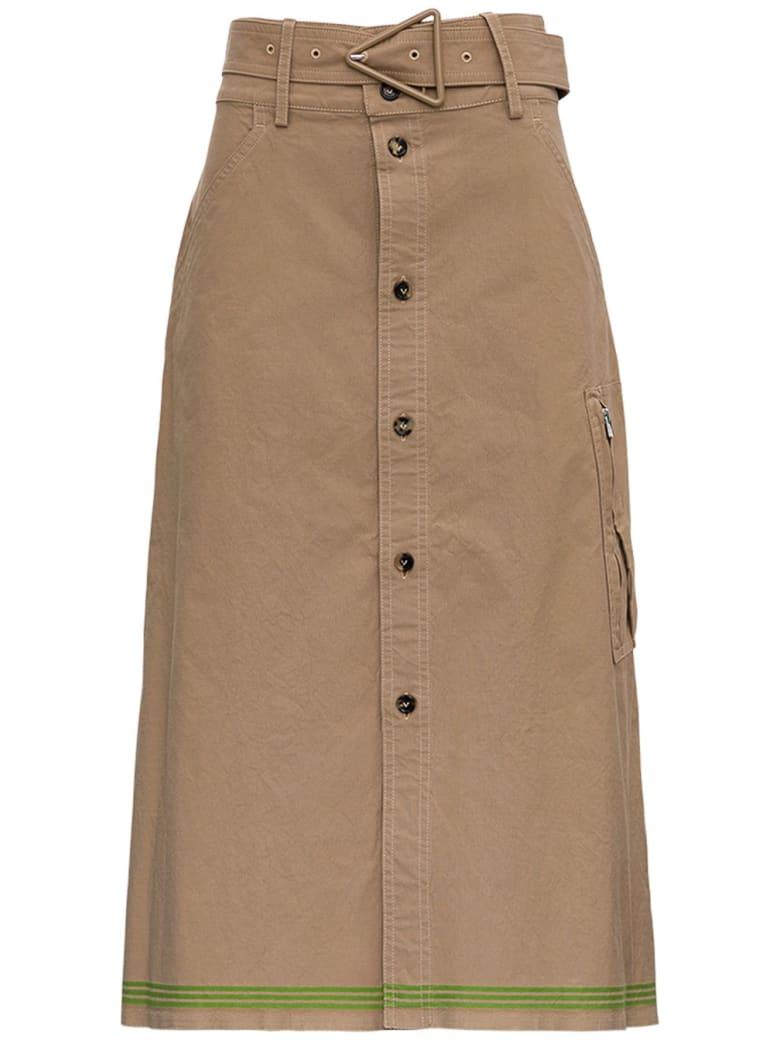 Bottega Veneta Beige Cotton Skirt With Belt - Beige