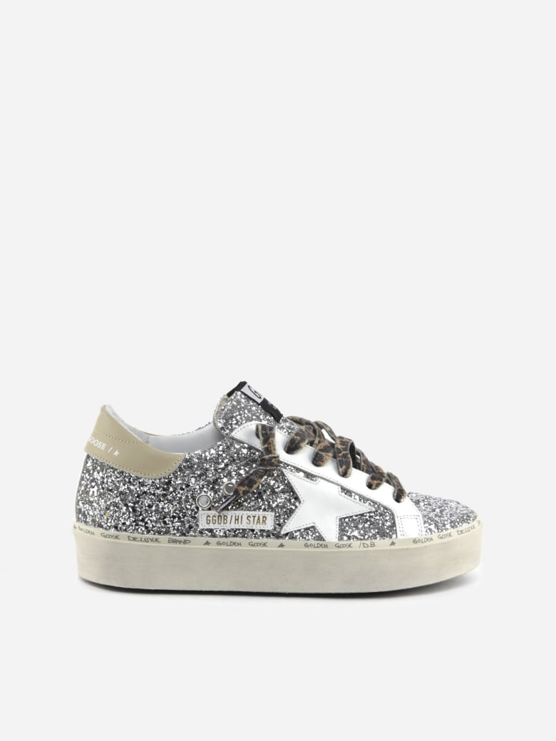 Golden Goose Hi Star Sneakers In Leather With All-over Glitter - Silver