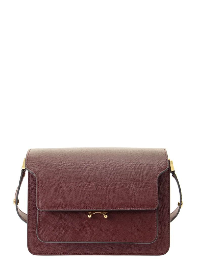 Marni Trunk Bag In Mono-coloured Saffiano Calfskin - Ruby