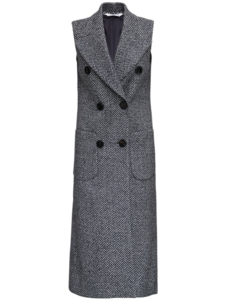 Tonello Sleeveless Grey Long Coat In Herringbone Wool - Grey