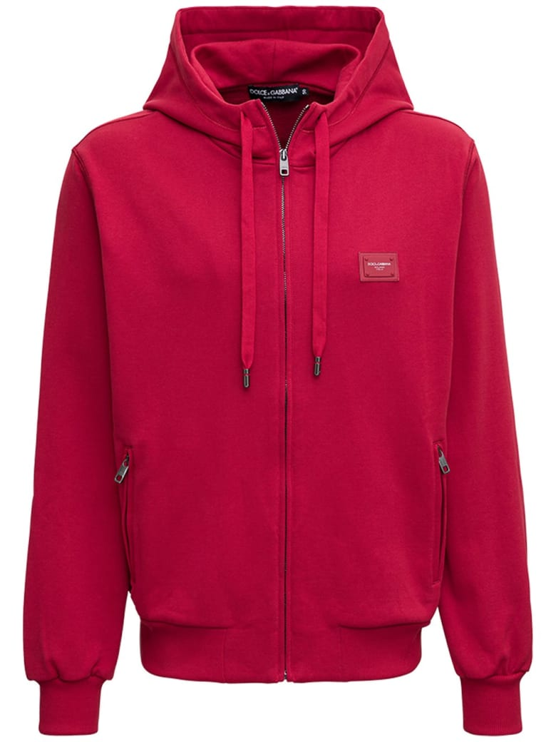 Dolce & Gabbana Red Jersey Hoodie With Logo - Red