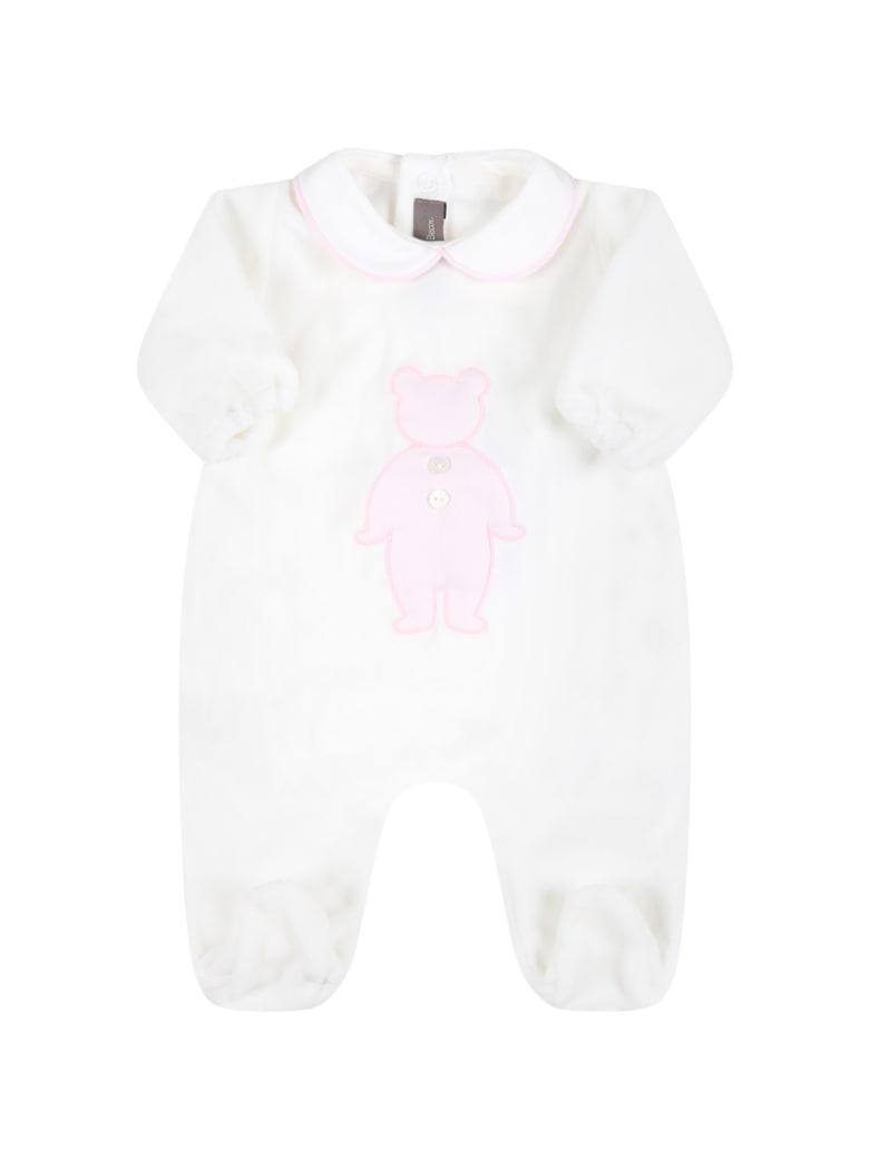 Little Bear White Babygrow For Baby Girl With Bear - White