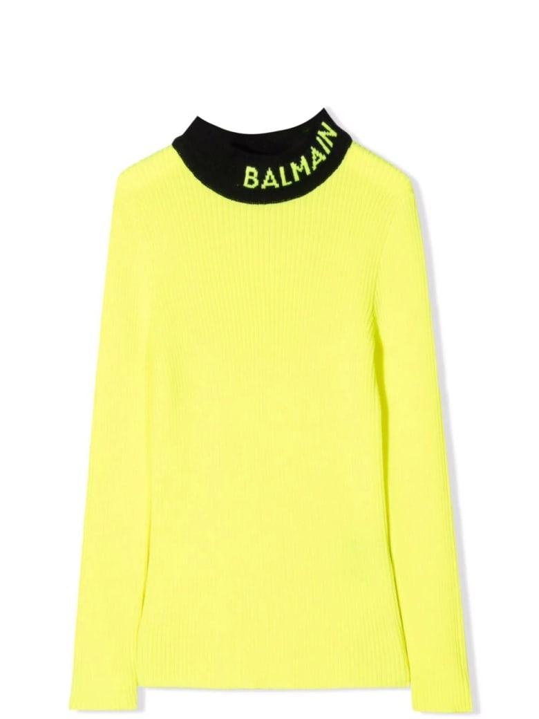 Balmain Two-tone Ribbed Sweater - Yellow