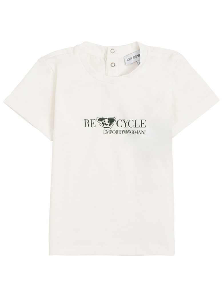 Emporio Armani Recycled Cotton T-shirt With Print - White