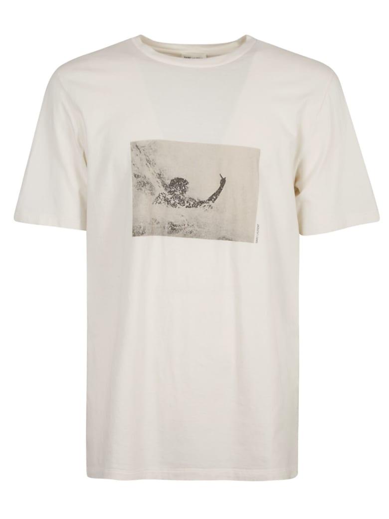 Saint Laurent Graphic Photo Print T-shirt - Ecru/Sepia