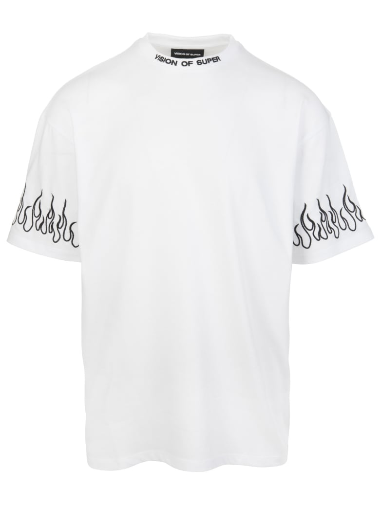 Vision of Super Man White T-shirt With Black Embroidered Flames - White/black