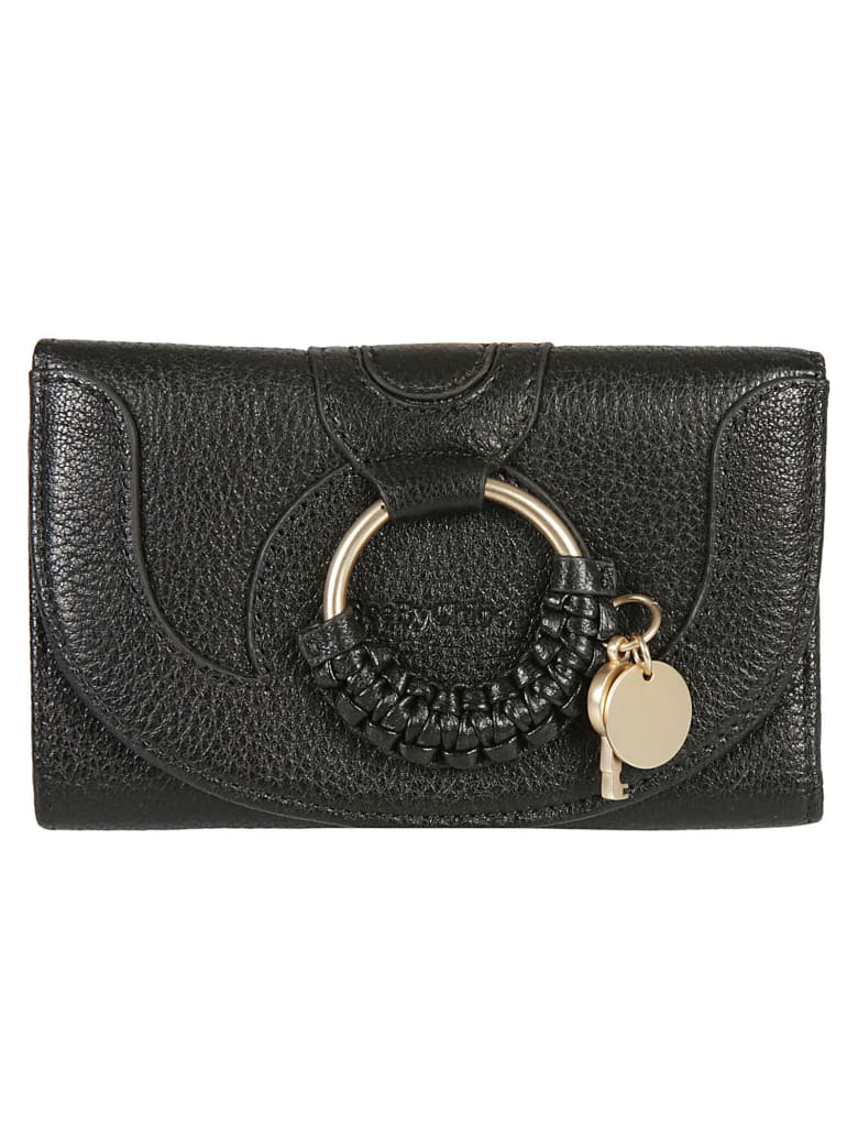 See by Chloé Engraved Logo Continental Wallet - Black