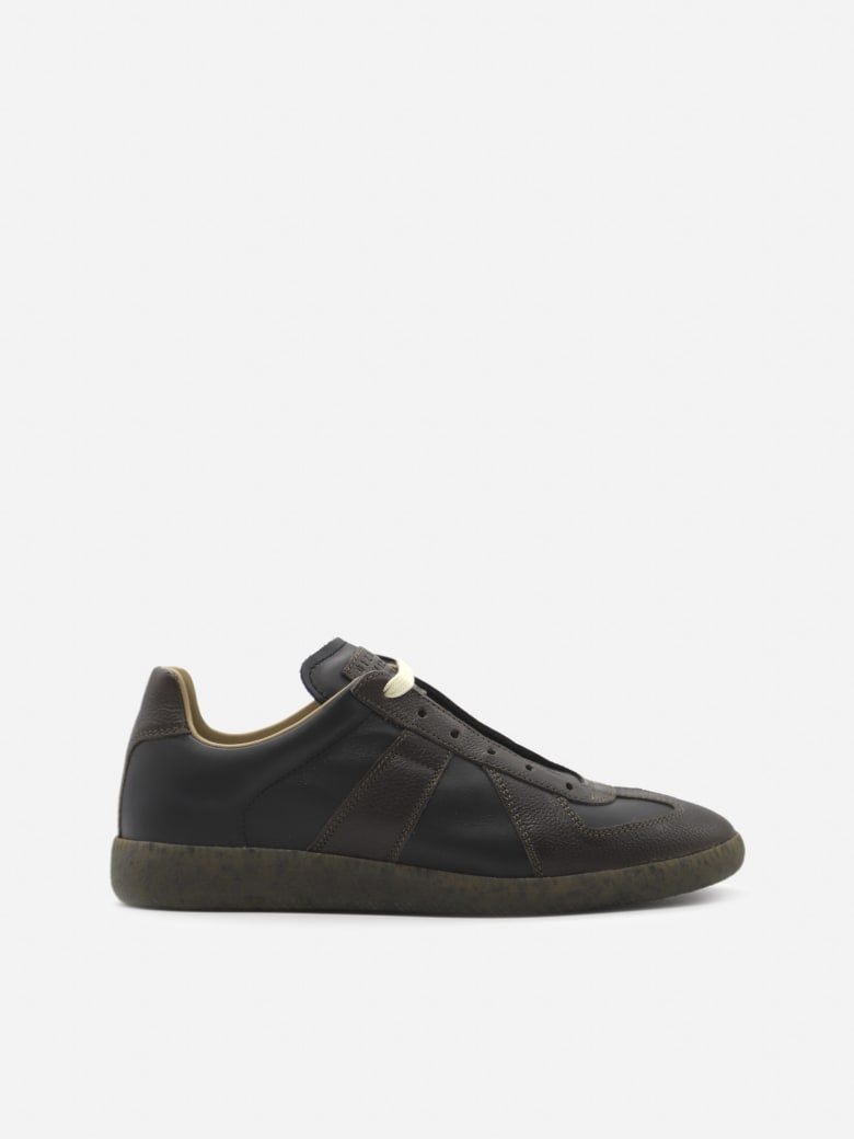 Maison Margiela Two-tone Replica Leather Sneakers - Black