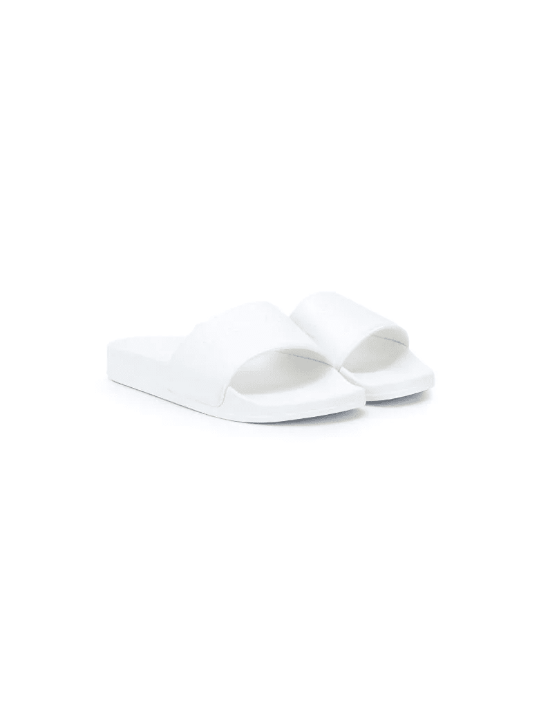 Balmain Unisex Kid White Slippers With Logo