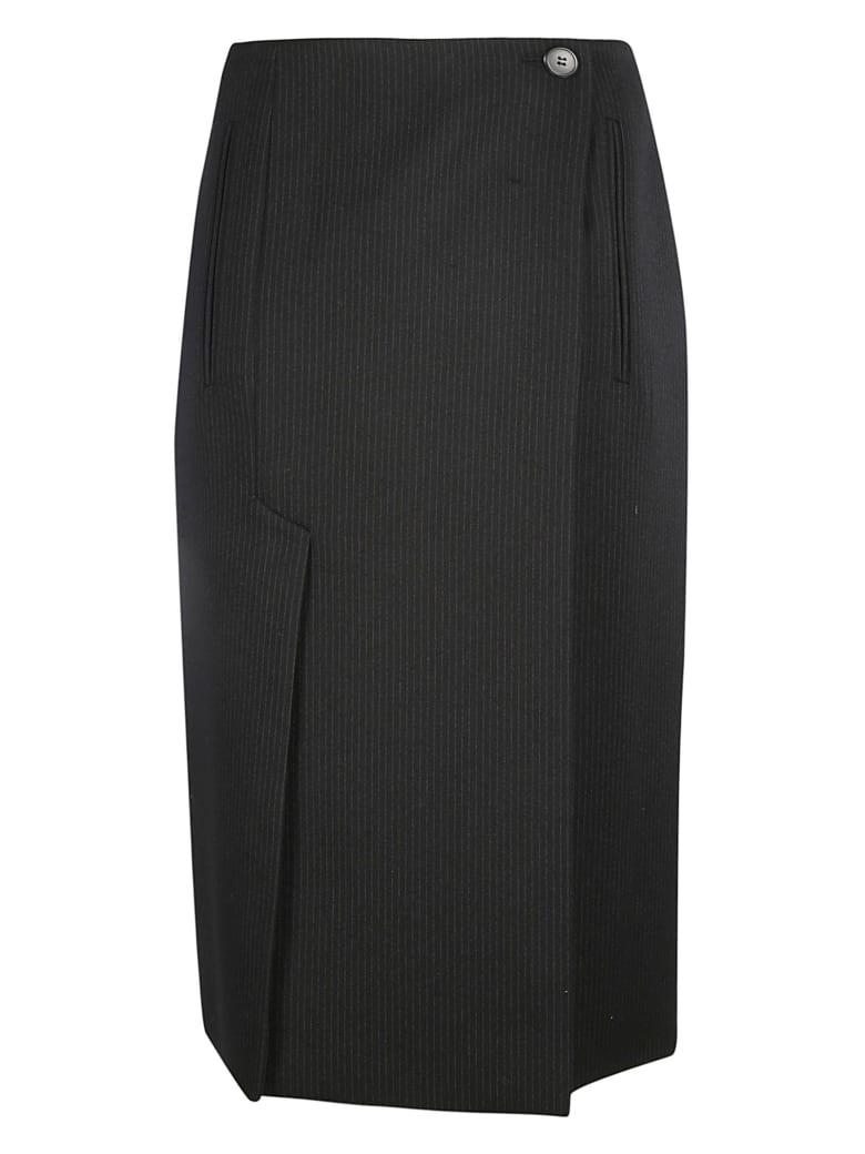 Prada Pleated Detail Midi Skirt - Black