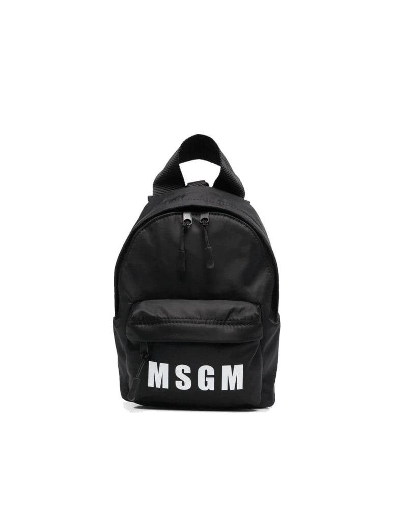 MSGM Black Nylon Backpack - BLACK
