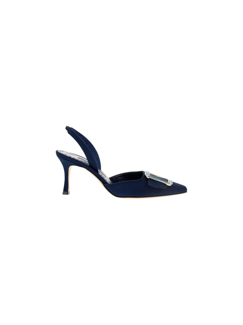 Manolo Blahnik Mayslim Slingback Sandals - Navy