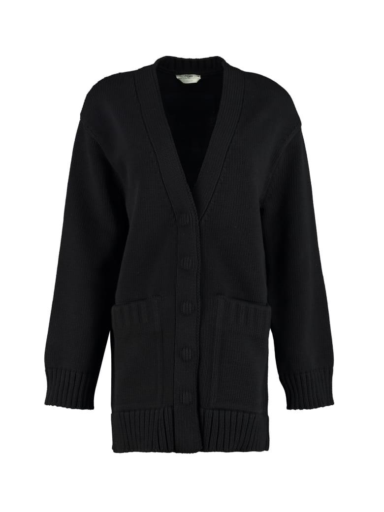 Fendi Knitted Cardigan - black