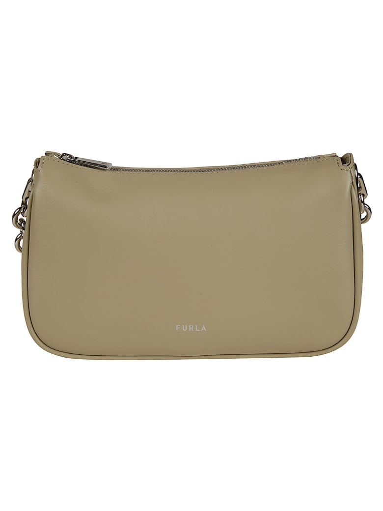 Furla Top Zipped Chain Shoulder Bag - Beige