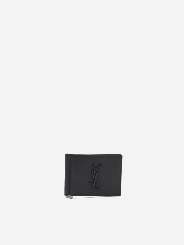 Saint Laurent Monogram Wallet In Croc Effect Leather - Black